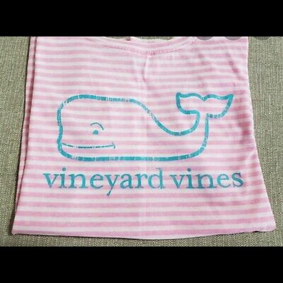 Vineyard Vines Tops - Pink/white striped vineyard vines tee w/teal whale
